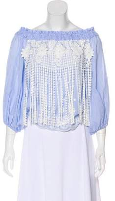 Alexis Lace-Accented Off-The-Shoulder Top