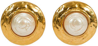 One Kings Lane Vintage Round YSL Goldtone & Pearl Earrings - Vintage Lux