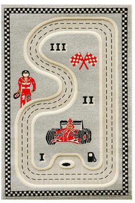 "Ivi Racer Gray3D Kids Play Rug, 72""L x 53""W"