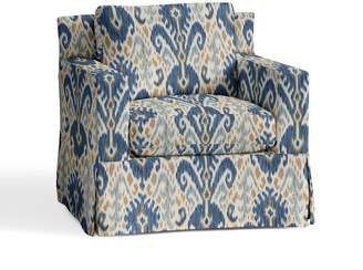 Pottery Barn York Square Arm Slipcovered Armchair - Print and Pattern