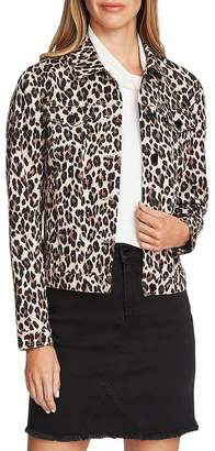 Vince Camuto Leopard Print Denim Jacket