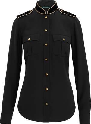 Ralph Lauren Velvet-Trim Georgette Shirt