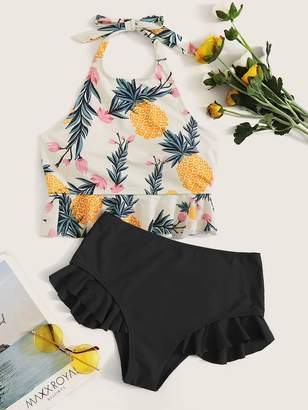 Shein Pineapple Print Halter Top With Ruffle Trim Bikini