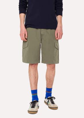 Paul Smith Men's Washed Green Cotton-Linen Cargo Shorts