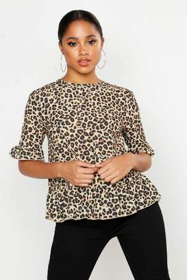 boohoo Woven Leopard Button Back Shell Top