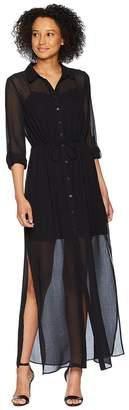 Adrianna Papell Spider Chiffon Shirt Maxi Dress Women's Dress