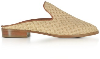 Clergerie Aliceop Natural Woven Raffia And Terracotta Brown Leather Flat Mules