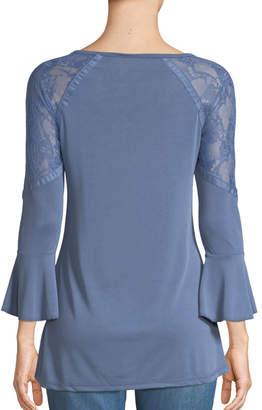 Love Scarlett Bell-Sleeve Lace-Shoulder Blouse