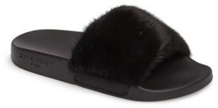 Women's Givenchy Genuine Mink Fur Slide Sandal $595 thestylecure.com