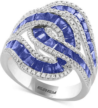 Effy Amore Sapphire (3-1/2 ct. t.w.) & Diamond (1/2 ct. t.w.) Ring in 14k White Gold