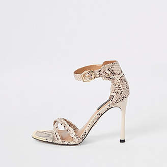 River Island Grey snake print wide fit barely there sandal