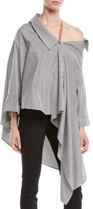 Palmer Harding palmer//harding Jasmine Striped One-Shoulder Button-Front Shirt