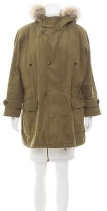 Saint Laurent Fur-Trimmed Hooded Coat
