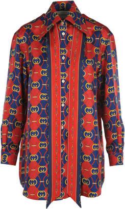 d5800c8521a4 Gucci Silk Shirt With Gg Print