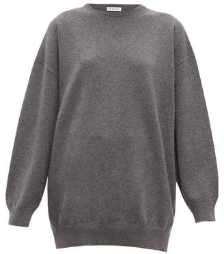 Balenciaga Signature Intarsia Cashmere Sweater - Womens - Grey Multi