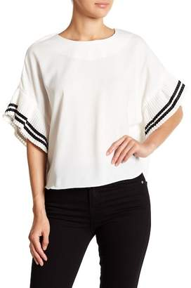 OnTwelfth Pleated Stripe Sleeve Woven Top
