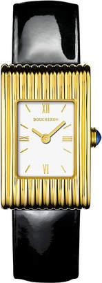 Boucheron Reflet 18ct yellow-gold and leather quartz watch