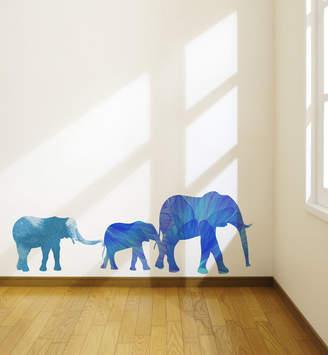 Little Sticker Boy Watercolor Elephant Family Wall Decal