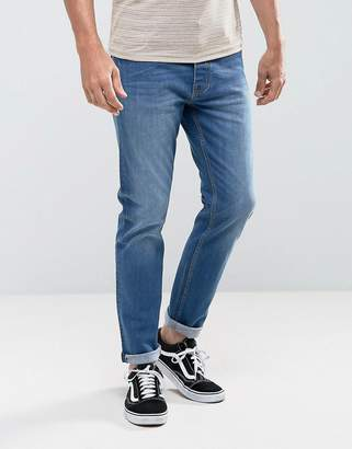 Threadbare Riley Skinny Jeans in Mid Blue Wash