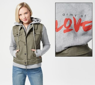 Peace Love World Denim Jacket with French Terry Sleeves