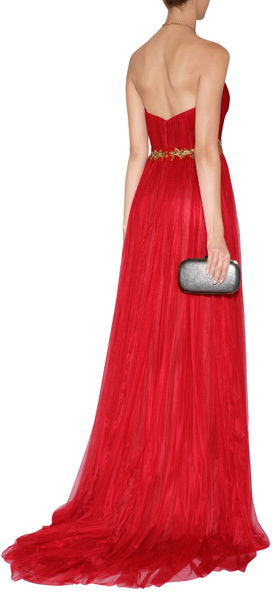 Marchesa Tulle Gown with Leaf Embroidery in Red