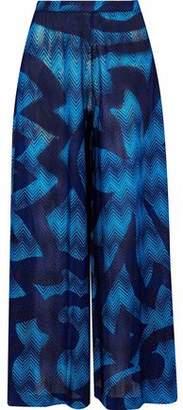 Missoni Mare Metallic Crochet-Knit Wide-Leg Pants