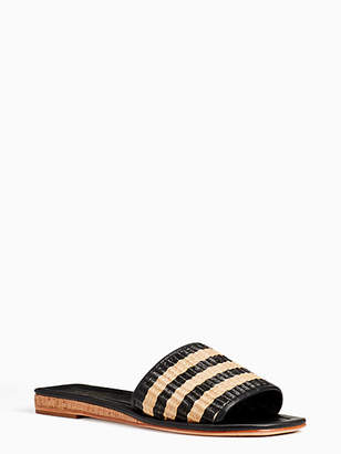 Kate Spade Juiliane Slide Sandals, Natural/Black Rafia - Size 5.5