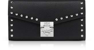 MCM Large Studded Black Patricia Park Avenue Flap Wallet