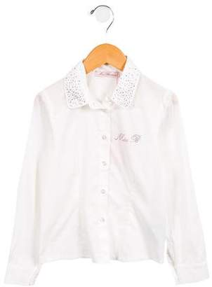 Blumarine Girls' Embellished Button-Up Top w/ Tags