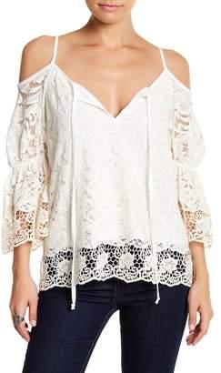 VAVA by Joy Han Split Neck Cold Shoulder Lace Shirt