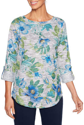 Lark Lane Must Haves I 3/4 Sleeve Crew Neck Slubbed Blouse