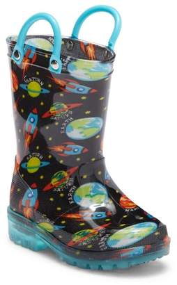 LILLY OF NEW YORK Space Light-Up Waterproof Rain Boot (Toddler & Little Kid)