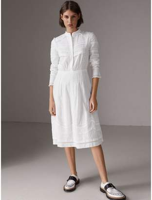 Burberry English Lace Detail Cotton Voile Shirt Dress