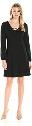 James & Erin Women's Printed Laced Front Blouson Sleeve Flare Dress