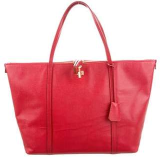 Dolce & Gabbana Textured Leather Tote Red Textured Leather Tote
