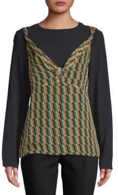 Dries Van Noten Geometric-Print Long-Sleeve Silk Blouse