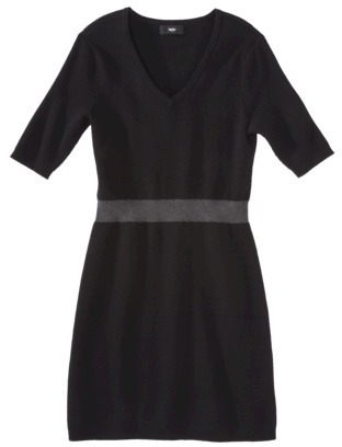 Mossimo Women's Plus-Size Elbow-Sleeve Sweater Dress - Black/Gray