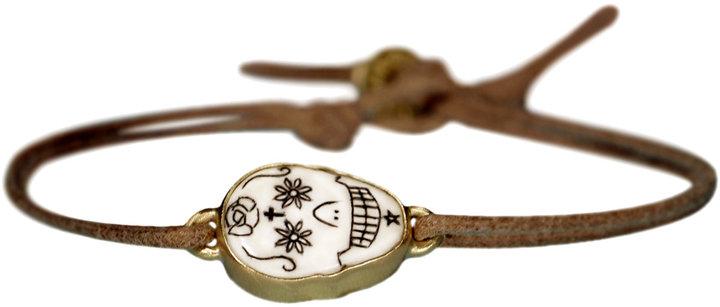 Me & Ro Me&Ro 18K Gold Large Scrimshaw Skull Bracelet on Cord