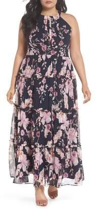 Eliza J Floral Ruffle Trim Chiffon Halter Maxi Dress