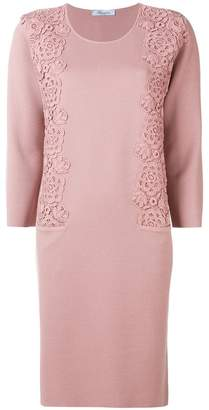 Blumarine floral embroidered knitted dress