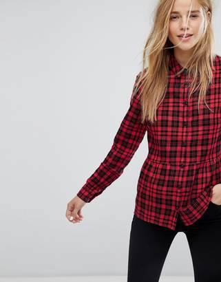 Jack Wills Check Shirt With Peplum Hem