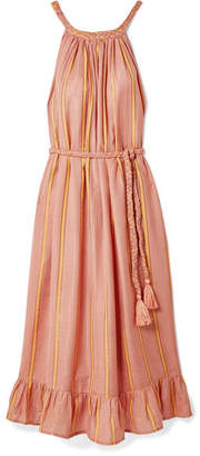 Apiece Apart Caspia Striped Gauze Midi Dress - Coral