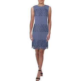 Anne Klein Women's Sleeveless Shift Dress-Lace/Crepe