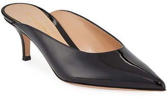 Gianvito Rossi Low-Heel Patent Leather Dip-Vamp Mule