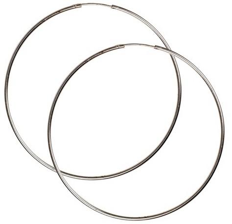 Sterling Silver Endless Hoop Earring - Silver