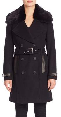Andrew Marc Detachable Fur-Collar Trench Coat