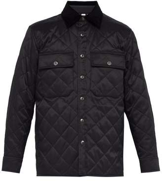 Burberry Logo Patch Quilted Twill Jacket - Mens - Black