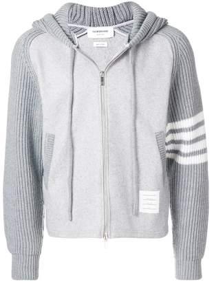 Thom Browne ribbed sleeve zip hoodie