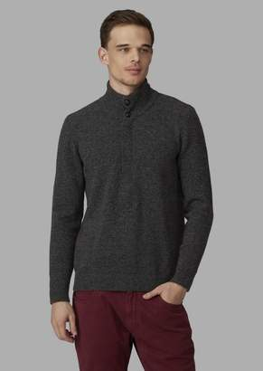 Giorgio Armani Plain-Knit Henley Sweater With Buttons And Zip