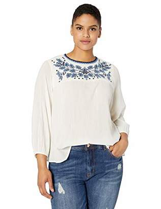 Lucky Brand Women's Plus Size Embroidered Neckline Peasant TOP